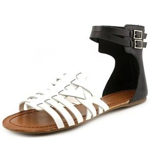 Jessica Simpson Black White Ankle Buckle Sandal
